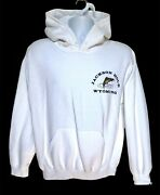 Jackson Hole Wyoming Fly Fishing Embroidered White Pullover Hoodie Size Med