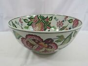 Vintage Decorative Asian Bowl Large Flowers And Leaves Painted Inside And Outside