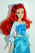 Disney Store Little Mermaid Ariel Doll In Blue Dress And Hair Bow From Boat Scene