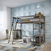 Max And Lily Solid Wood Twin-size High Loft Bed With Bookcase + Desk, Clay
