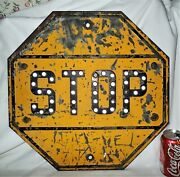 Antique Us Steel Reflector Glass Marbles Usa Non Porcelain Home Street Stop Sign