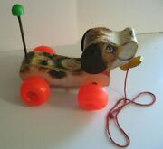 Vintage 1965 Fisher Price Little Snoopy Dog Pull Along Toy 693 W/ Wood Shoe