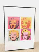 Andy Warhol Marilyn Monroe Poster Colorful Pop Art Poster W/ Frame From Japan
