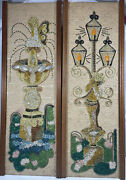 2 Vintage Mcm Gravel Pebble Art Fairy Garden And Lamppost Wall Hangings 24andrdquo
