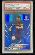 Lionel Messi 2017-18 Topps Chrome Ucl Base Blue 1 /150 Psa 9