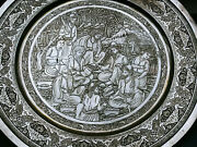 Fascinating Large Middle Eastern Solid Silver Figural Tray Dish Lahiji Manner