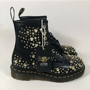 Dr. Martens 1460 60 Years Edition Gold Stud Boots Black Military Wms 6/mns 5