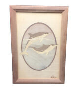Signed Jeff Nelson Hudson River Inlay Wood Marquetry Art Picture Dolphins