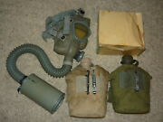 Lot Vintage Military Items Gas Mask With Canister Canteens With Canvas Covers