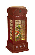 Holiday Lighted Christmas Nutcracker In Antique Telephone Booth Spinning Water