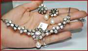 925 Sterling Silver Diamond Polki Necklace Set Pearl Antique Look Women Jewelry