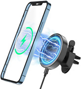 Mag-safe Wireless Car Charger 15w For Iphone 13 Mini Pro Max 360 Air Vent Holder
