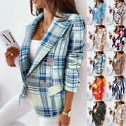 Womens Double Breasted Blazer Suit Office Work Jacket Outerwear Coat Holiday Uk