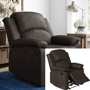 Recliner Chair Lounge Padded Arms Three Way Reclining Faux Suede Espresso New