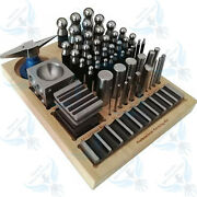 56 Pcs Dapping Punch Set Jumbo Doming And Steel Swage Block Jewelry Forming Kit
