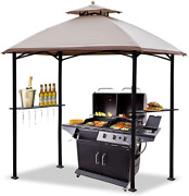 Warmally 8'x5' Grill Gazebo Bbq Patio Shelter Canopy For Outdoor Barbecue Tent H