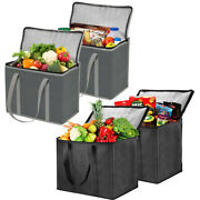 2/1pack Shopping Bags Insulated Reusable Grocery Cooler Bag W/sturdy Zipper Xl