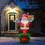 6ft Christmas Inflatable Santa Claus With Build-in Led Lights Blow Up Yard Decor