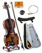 Sky 4/4 Full Size Skyvn201 Solid Maple Wood Violin With Lightweight Case, Brazil