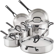 Kitchenaid 5-ply Clad Stainless Steel Cookware Pots And Pans Set, 10 Piece, Poli