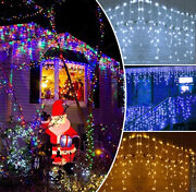 13ft Colorful Curtain Icicle Lights Wedding Party Led Fairy Christmas In/outdoor