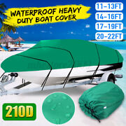 11-22ft 210d Oxford Fabric Waterproof Ski V-hull Runabouts Boat Cover Army Green