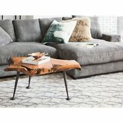 Aurelle Home Rustic Wood Live Edge Coffee Table Brown Farmhouse Modern And Contem