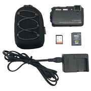 Nikon Coolpix Aw110 Waterproof Gps Wifi Digital Camera Black With Charger Sd Car