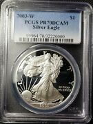 2003 W Proof Silver Eagle Pcgs Pr70 Dcam, Small Holder Chip