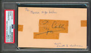Tigers Ty Cobb Authentic Signed 3x5 Government Postcard Psa/dna Slabbed