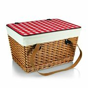 Picnic Time Canasta Basket With Red Check Lid Grande