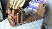 Antique Black Forest Hand Carved Wood Book Rack, Holder, Stand, Eagle And Sheep