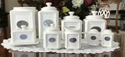 New Thl Classic Farmhouse Beaded Canister Set Silver Label French Shabby Chic
