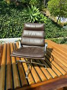 2 1970and039s Herman Miller Eames Aluminum Group Soft Pad Lounge Chairs In Brown