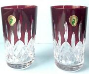 Waterford Lismore Red Crystal Highball Glasses Set/2 Round Base 5 40014982 New