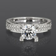Solitaire Accented Diamond Ring 4 Prongs 3.19 Carat Round Shape 18k White Gold