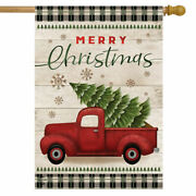 Merry Christmas Red Truck Flag Outdoor Double Sided Yard Garden Flag