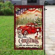 Red Truck Christmas Flag Outdoor Double Sided Yard Garden Flag