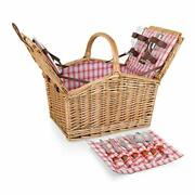 Picnic Time Piccadilly Willow Picnic Basket For Two People With Plates Wine G...