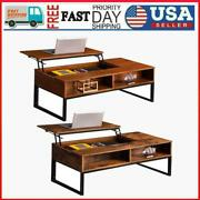 Coffee Table Lift-up Hidden Storage Cabinet Compartment Longlasting Brown Finish
