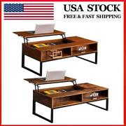 Hidden Storage Cabinet Lift-up Coffee Table Compartment Longlasting Brown Finish