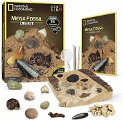National Geographic Mega Fossil Dig Kit 15 Genuine Real Fossils Learning Guide