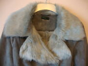 Stile Benetton Grey Faux Suede And Fur Belted Jacket Size