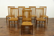 Set Of 8 Arts And Crafts Mission Oak Vintage Craftsman Dining Chairs 38431