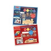 Melissa And Doug Decorate-your-own Wooden Train And Race Car Craft Kits, Set Of 2
