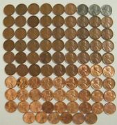 Complete Set 1941-1974 Pds Lincoln Wheat And Memorial Penny Cent Set G-bu 88 Coins