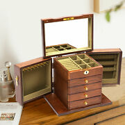 5 Layers Vintage Wooden Jewelry Box Desktop Storage + 2 Swing-out Cabinets Box