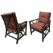 Aluminum Outdoor Deep Seating Rocking Club Chairs In Antique Bronze 2-piece Sets
