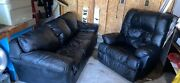 Harris Scott Fine Furniture - Black Leather Couch With Recliner Great Condition