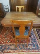 48 Square Antique Oak Dining Table And Chairs